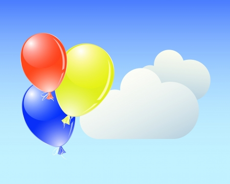 Flying colorful balloons and clouds