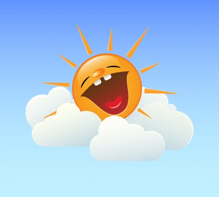 Fun illustration of laughing sun in the clouds  EPS8  Stock Vector - 21521025