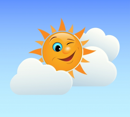 Fun illustration of winking sun in the clouds