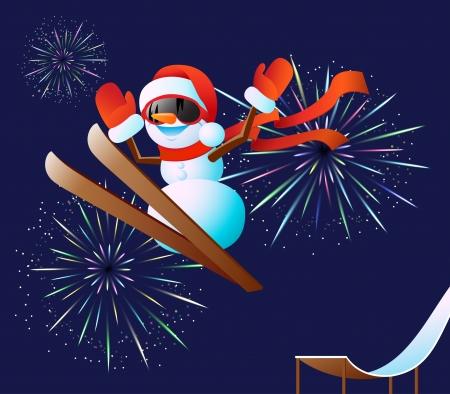 springboard: Brillantes fuegos artificiales y saltos mu�eco de nieve lindo de un trampol�n en los esqu�s.