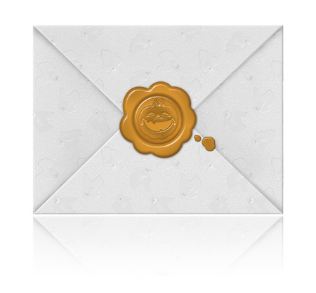 embossed paper: Envelope made of an embossed paper with fun wax seal, isolated on white