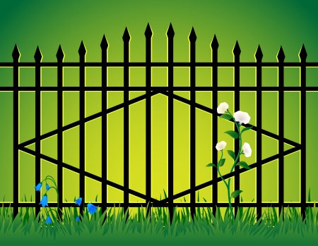 Iron gate with flowers growing under them  Vector