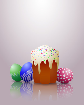 Easter cake and eggs on a shone background