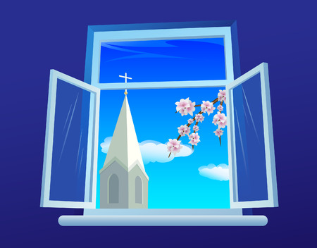 Window  with a view on church and  a blossom branch