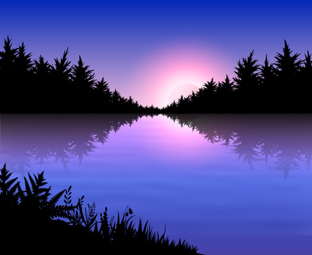 Forest reflected in a lake on the background of beautiful sunset