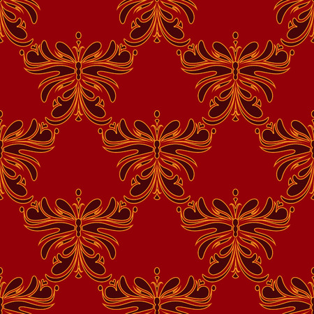 Abstract seamless pattern of stylized butterfly. Vector.