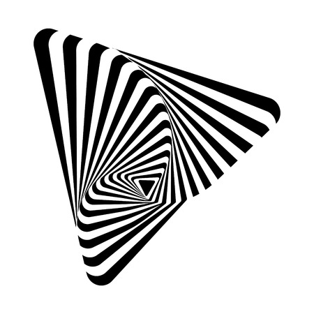 Black-and-white triangle geometric shape with optical effect