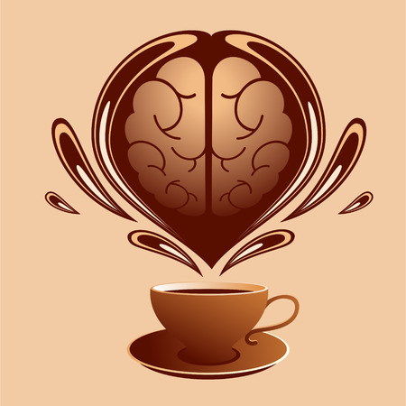 Stylized brain above a cup of coffee and drops of coffee around. Illustration