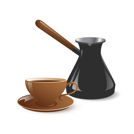 Vector illustration of cup and pot for coffee