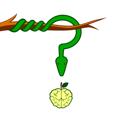 Snakes the tempter hanging from a branch above an apple stylized as a brain