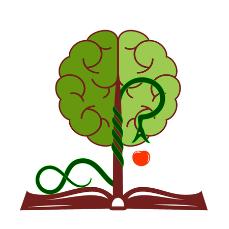 the tempter: Tree of knowledge with foliage in the form of a brain, growing from the open book.