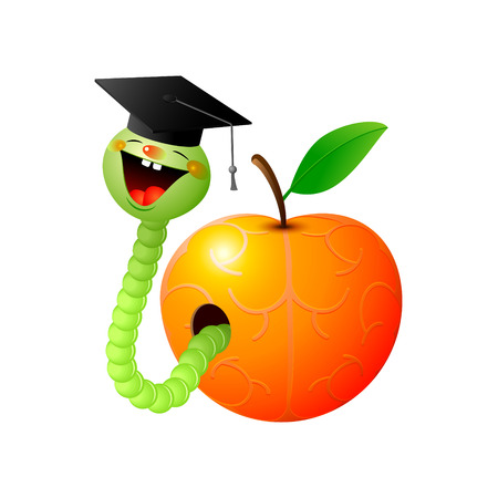 gusano caricatura: Lindo gusano verde sonriente en un casquillo del graduado se arrastra de una manzana estilizado como un cerebro.