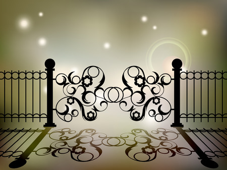 iron: Wrought iron gate with an elegant floral designs.