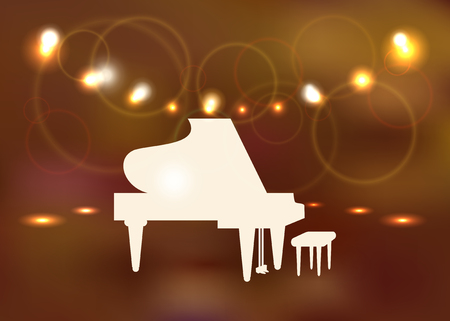Silhouette of a grand piano on the blur background concert hall with bright lights.