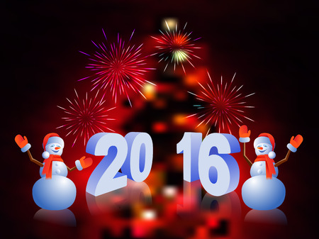 Fireworks year 2016 and two snowman on a bright background
