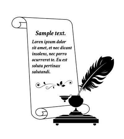 Scroll paper with a feather in antique inkwell. Illustration.