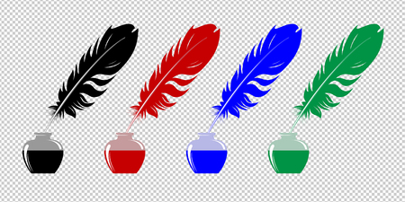 Set of inkwells with a feathers of different colors.