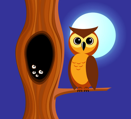 Owl sits on a branch of a tree. In a tree a hollow in which eyes are shone. Night,  full moon.