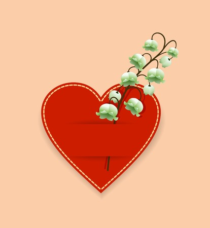 Valentine in the form of a red heart with a flower lily of the valley. Illustration