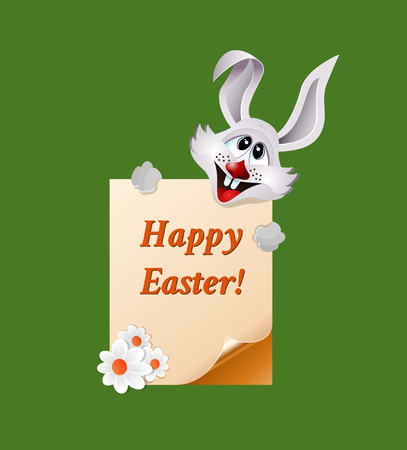 Bunny holds Easter greeting card with page curl.
