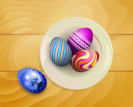 Colorful Easter eggs on a plate. View from above. Background of the wooden planks.