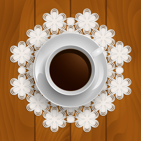 Cup of coffee on lace napkin on a wooden background. Top view. Illustration