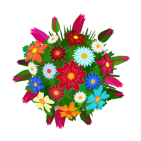 Bouquet of flowers, isolated on white. Top view.