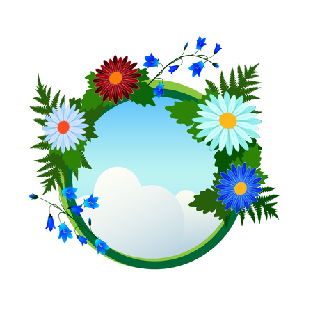 Round frame with flowers around the sky with clouds.