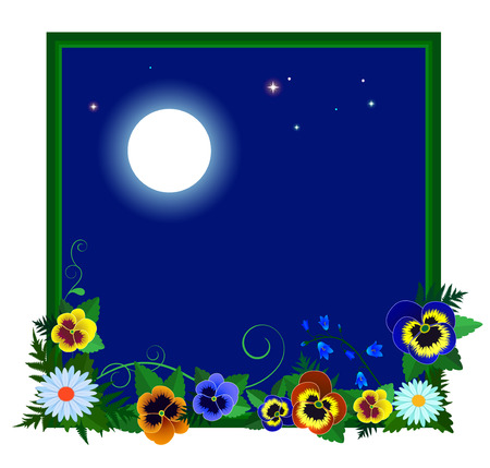 Frame with flowers around the night sky with moon and stars. Illustration