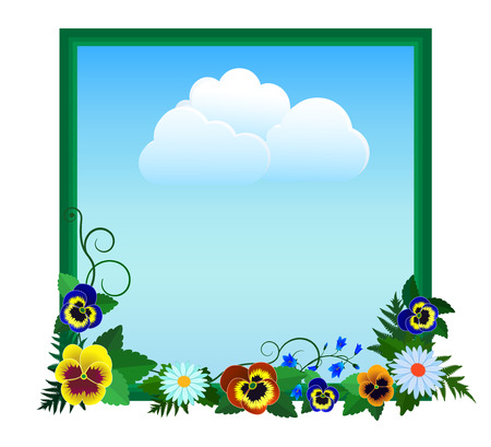 Frame with flowers around the sky with clouds.