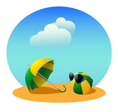 Umbrella and beach ball in sunglasses on the background of the summer sky with clouds. Illustration