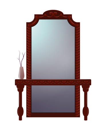 Antique dressing table with mirror in carved wooden frame isolated on white. Illustration