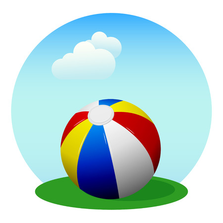 Colorful beach ball on the background of the summer sky with clouds.