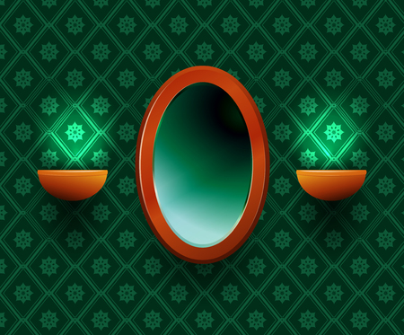 Oval mirror with two lamps at the sides on a green background.