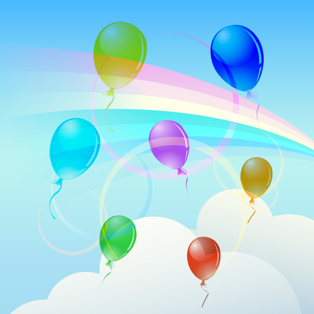 Pastel rainbow and colorful balloons on the background of the summer  sky with clouds.