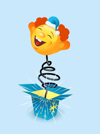 Amusing toy jumping out on a spring from a box vector illustration Ilustrace