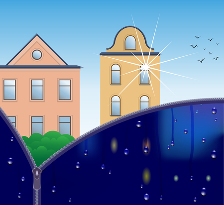 Vektorgrafik der Stadtlandschaft bei sonnigem und regnerischem Wetter, geteilt durch einen Reißverschluss. Vektorgrafik