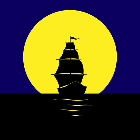 Silhouette of a sailboat in the sea on the background of a huge moon.