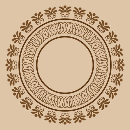 Circular abstract floral ornament. Round vector pattern. Banque d'images - 129323989