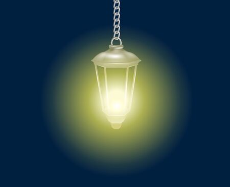 Realistic street lantern brightly shining in night hanging on a chain. Illustration