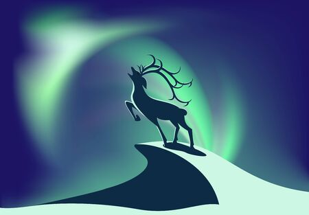 Deer stands on a rock on a background of the northern lights.