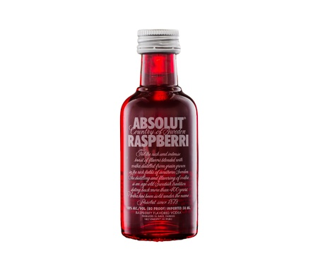 Absolut Raspberri Vodka 50ml bottle miniature Editorial