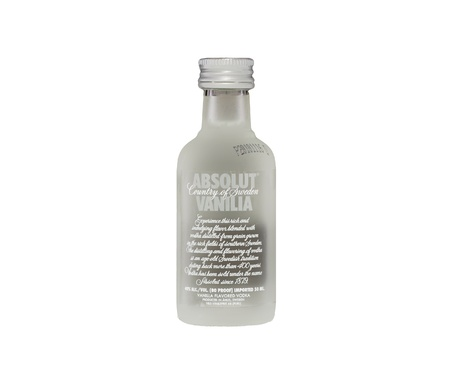 Absolut Vanilla flavored vodka bottle miniature