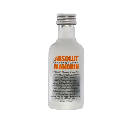 Absolut Mandarin Orange flavored vodka miniature Editorial