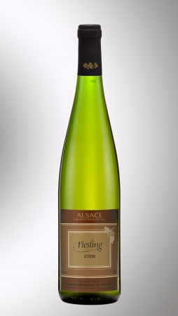 alsace: Bottle of wine Alsace Riesling 2008