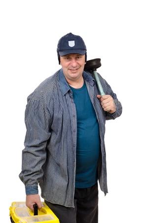 Matured plumber in navy cap and denim shirt photo