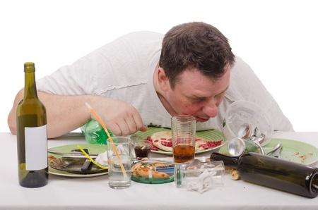wino: Man woke up after hard drinking Stock Photo