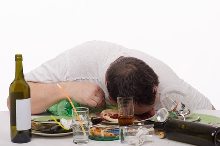 wino: Drunk man put his head in a plate