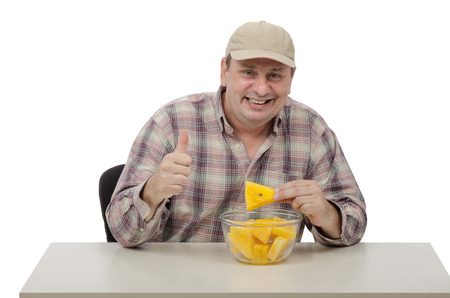 Guy likes to eat yellow watermelons photo