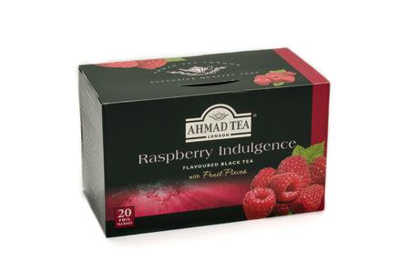 indulgence: Ahmad Tea Raspberry Indulgence box on white Editorial